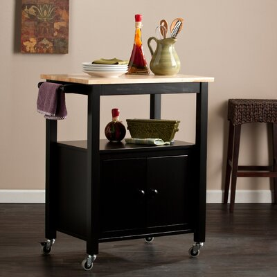 Alcott Hill Tiltonsville Kitchen Cart with Butcher Block Top