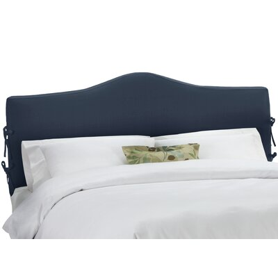 Upholstered Panel Headboard Upholstery: Linen Navy, Size: Twin