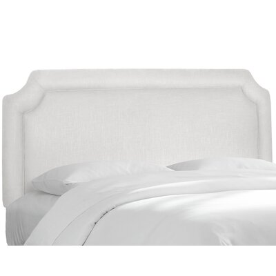 Twill Notched Upholstered Panel Headboard Size: Twin, Upholstery: Twill White