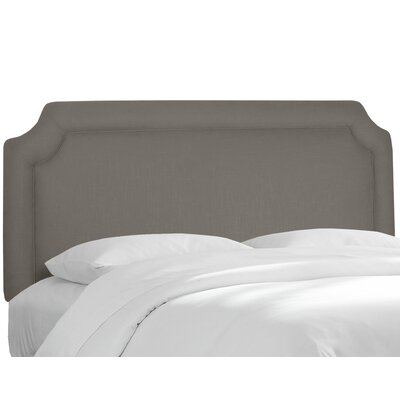 Twill Notched Upholstered Panel Headboard Size: Twin, Upholstery: Twill Grey