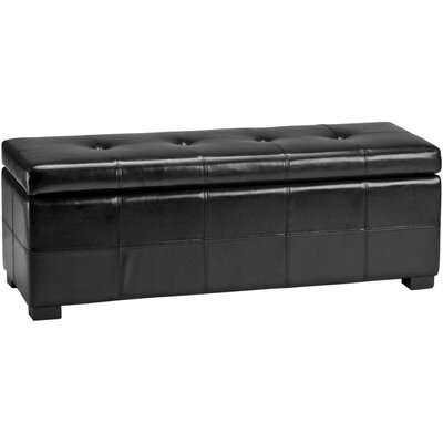 Alcott Hill Catherine Leather Entryway Storage Ottoman