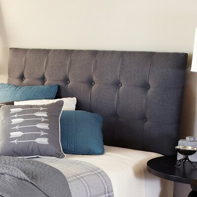 Upholstered Panel Headboard Upholstery: Charcoal Grey, Size: Full