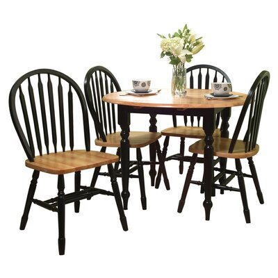 Cecelia 5 Piece Dining Set Finish: Black / Natural