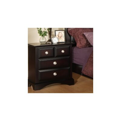 Elsa 3 Drawer Nightstand Finish: Ebony