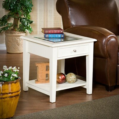 Blackwell 1 Drawer End Table Color: Off-White