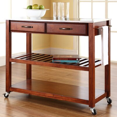 Bernice Kitchen Island with Stainless Steel Top Frame Finish: Cherry