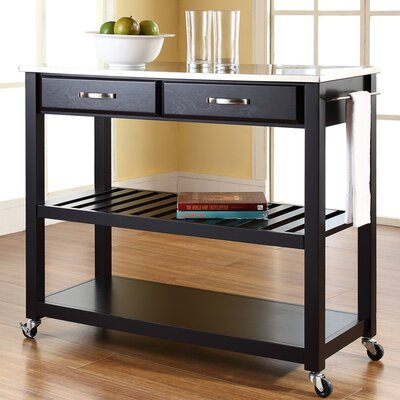 Bernice Kitchen Island with Stainless Steel Top Frame Finish: Black