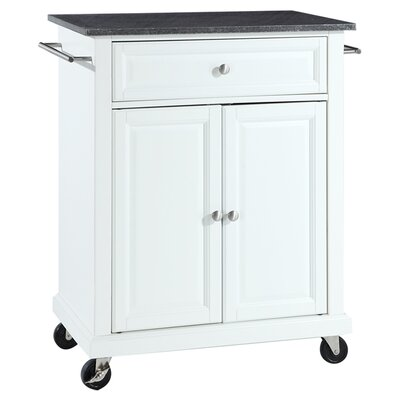 Celeste Kitchen Cart with Granite Top Base Finish: White