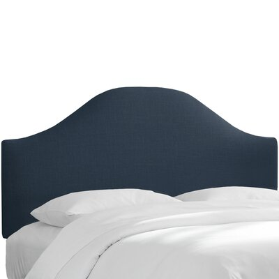Curved Upholstered Panel Headboard Upholstery: Navy, Size: California King