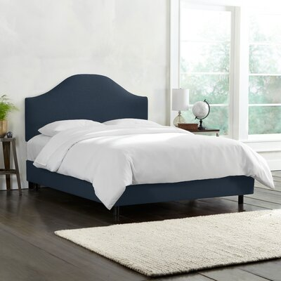 Upholstered Panel Bed Color: Navy, Size: Queen