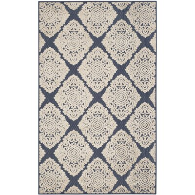 Mannox Cream/Navy Blue Indoor/Outdoor Area Rug Rug Size: Rectangle 67 x 96