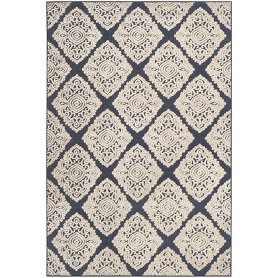 Mannox Navy/Cream Indoor/Outdoor Area Rug Rug Size: 53 x 77