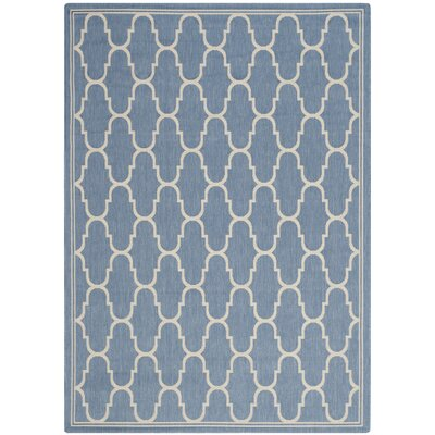 Rockbridge Blue/Beige Indoor/Outdoor Area Rug Rug Size: 53 x 77