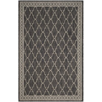 Rockbridge Black/Beige Indoor/Outdoor Area Rug Rug Size: 53 x 77