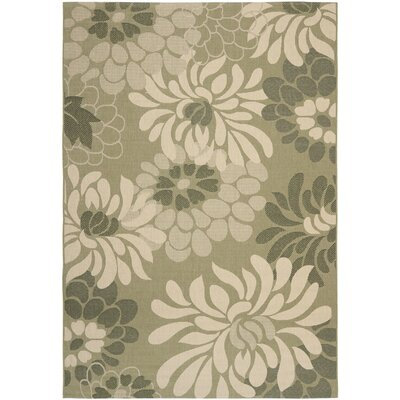 Rockbridge Cream/Green Area Rug Rug Size: 6'7 x 9'6