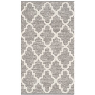 Valley Hand-Woven Gray/Ivory Area Rug Rug Size: Rectangle 4 x 6
