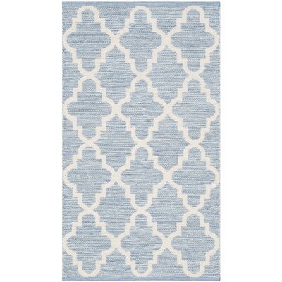 Valley Hand-Woven Light Blue/Ivory Area Rug Rug Size: Runner 23 x 9