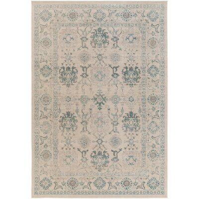 Canfield Teal/Beige Area Rug Rug Size: Rectangle 68 x 98