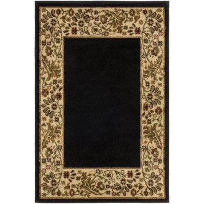 Petersburgh Black/Beige Area Rug Rug Size: 22 x 33