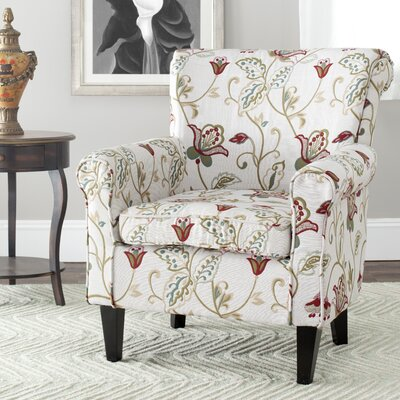 Montgomery Armchair Upholstery: White-Red Flower