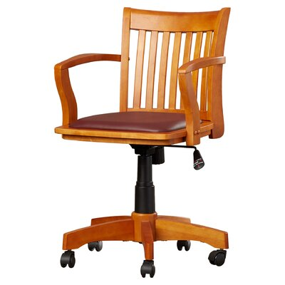 Celina Mid-Back Deluxe Bankers Chair Frame Finish: Fruit Wood / Brown