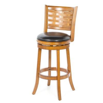 Ansari 29 inch Swivel Bar Stool with Cushion Finish: Brush Oak, Seat Height: Bar (29 inch)