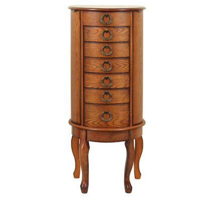 Burnell Jewelry Armoire with Mirror Finish: Burnished Oak