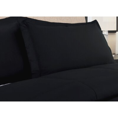 White Colors All Natural 100% Cotton Pillow Sham Size: King, Color: Black