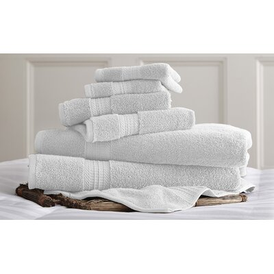 Bishopsworth 6 Piece Superior Combed Cotton Towel Set Color: White