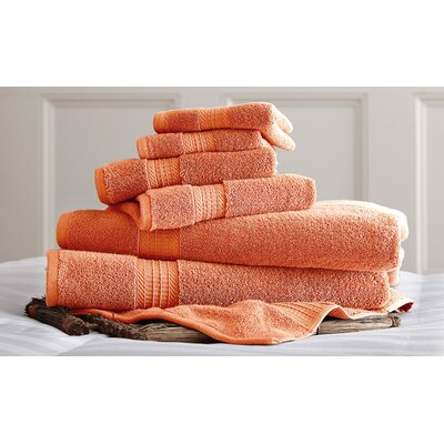 Bishopsworth 6 Piece Superior Combed Cotton Towel Set Color: Coral