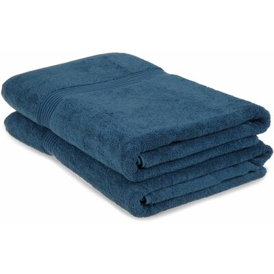 Hyde 600GSM Premium Combed Cotton 2 Piece Bath Sheet Set Color: Sapphire