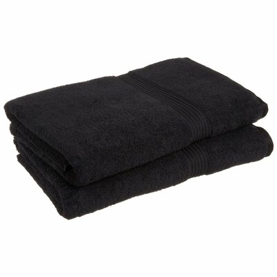Patric 2 Piece Bath Sheet Set Color: Black