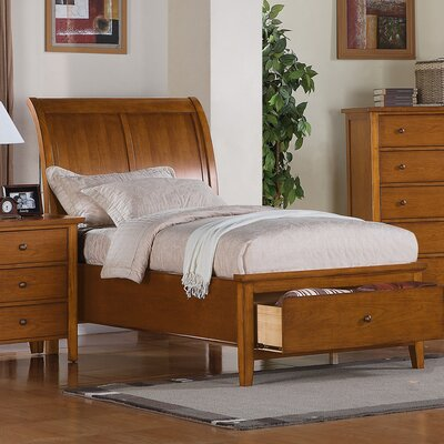 Blackwell Twin Sleigh Bed with Storage Color: Cognac