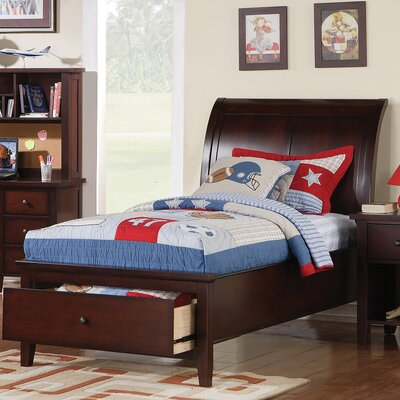 Blackwell Twin Sleigh Bed with Storage Color: Cherry