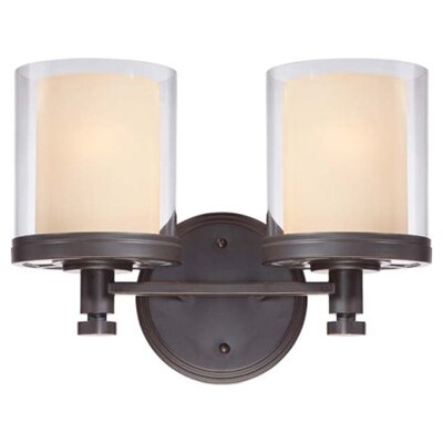 Waynesville 2-Light Vanity Light Finish/Shade Color: Sudbury Bronze/Clear Outer with Cream Inner