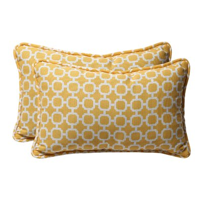 Broughton Outdoor Throw Pillow Size: 11.5 W x 18.5 D, Color: Yellow / White Geometric
