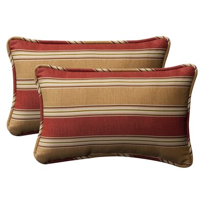 Snowdon Outdoor Lumbar Pillow Size: 11.5 W x 18.5 D, Color: Red / Gold Striped