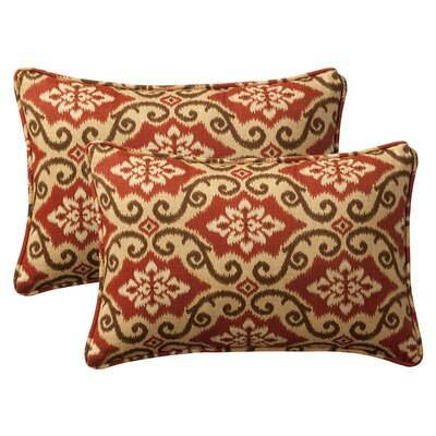 Snowdon Outdoor Lumbar Pillow Size: 16.5 W x 24.5 D, Color: Red / Tan Damask