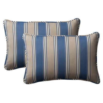 Broughton Outdoor Throw Pillow Size: 16.5 W x 24.5 D, Color: Blue / Tan Striped
