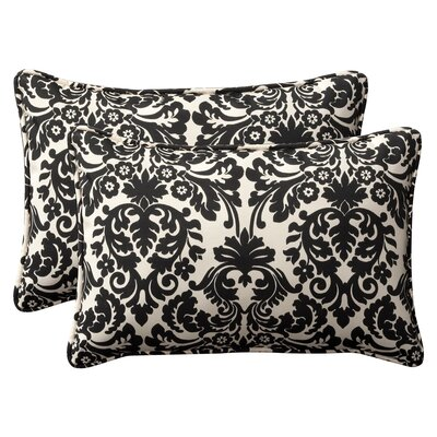 Snowdon Outdoor Lumbar Pillow Size: 16.5 W x 24.5 D, Color: Black / Beige Damask