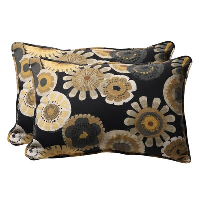 Snowdon Outdoor Lumbar Pillow Size: 11.5 W x 18.5 D, Color: Black / Yellow Floral