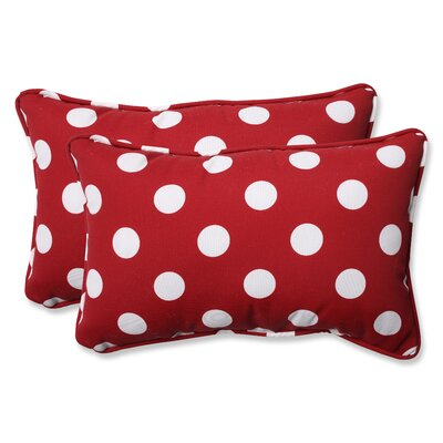 Broughton Outdoor Throw Pillow Size: 11.5 W x 18.5 D, Color: Red / White Polka Dot
