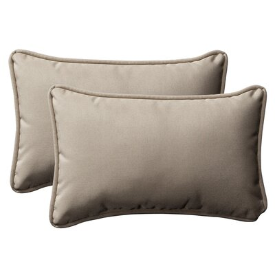 Snowdon Outdoor Lumbar Pillow Size: 16.5 W x 24.5 D, Color: Beige Solid