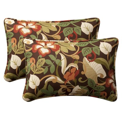 Broughton Outdoor Throw Pillow Size: 11.5 W x 18.5 D, Color: Brown / Green Tropical