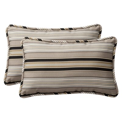Broughton Outdoor Throw Pillow Size: 11.5 W x 18.5 D, Color: Black / Beige Striped