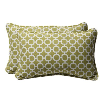 Broughton Outdoor Throw Pillow Size: 11.5 W x 18.5 D, Color: Green / White Geometric