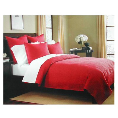 Canton Classic Cotton Quilt Size: King, Color: Burgundy Stripe