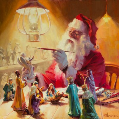 Santa More Than Toys Painting Print on Wrapped Canvas Size: 18