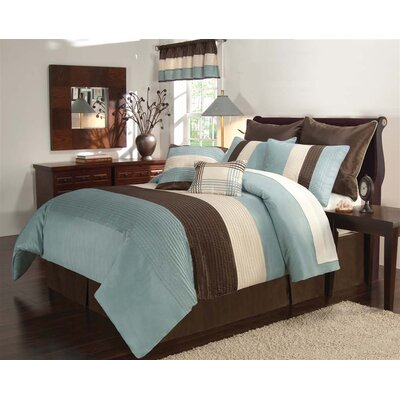 Windward 8 Piece Comforter Set Size: King, Color: Aqua