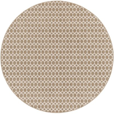 Casper Neutral Indoor/Outdoor Area Rug Rug Size: Round 6